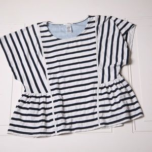 Esley Blowse Navy & White Stripe